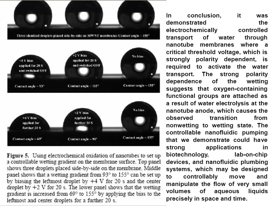 In conclusion, it was demonstrated the electrochemically controlled transport of water through nanotube membranes where a critical threshold voltage, which is strongly polarity dependent, is required to activate the water transport.