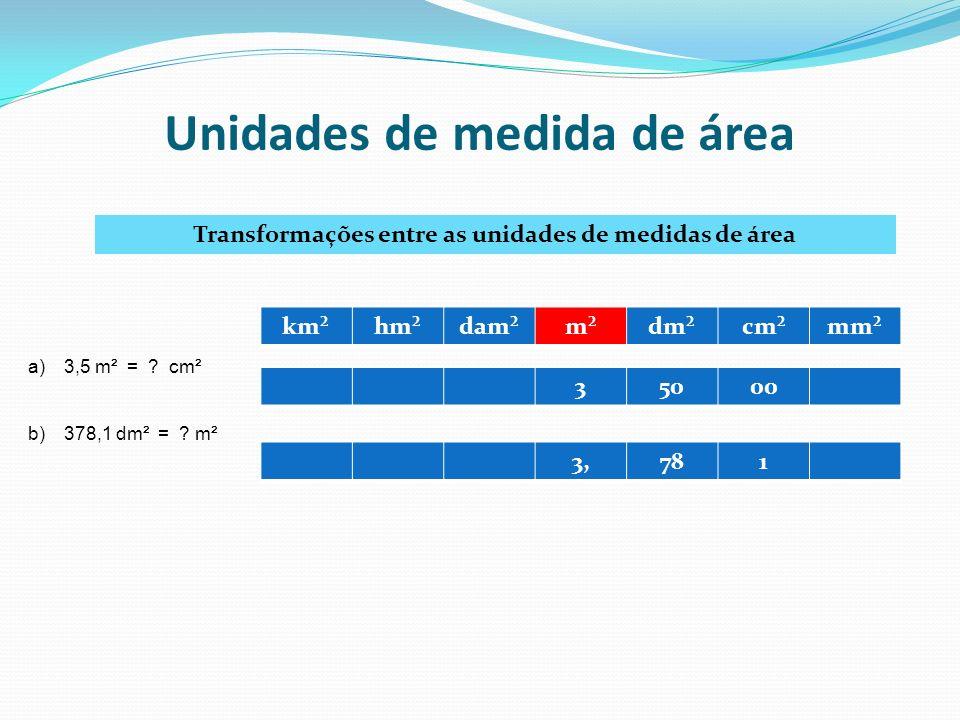 Unidades de medida de área Transformações entre as unidades de medidas de área km²hm²dam²m²dm²cm²mm² a)3,5 m² = ? cm² b)378,1 dm² = ? m² 35000 3,781