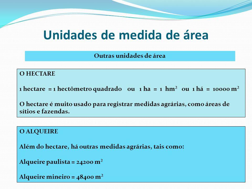 Unidades de medida de área Outras unidades de área O HECTARE 1 hectare = 1 hectômetro quadrado ou 1 ha = 1 hm² ou 1 há = 10000 m² O hectare é muito us