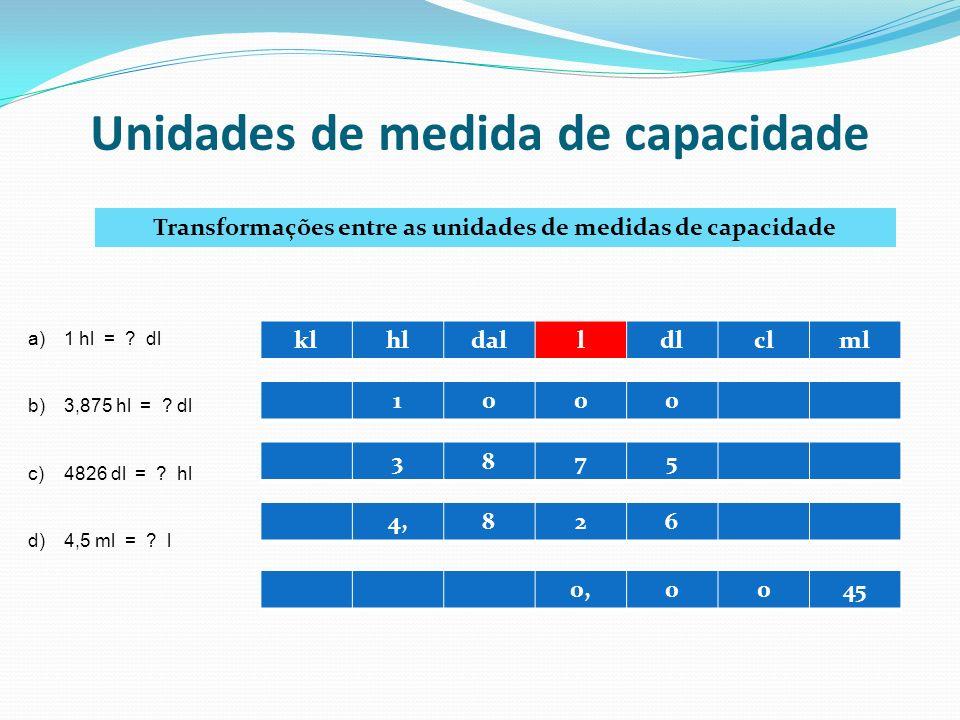 Unidades de medida de capacidade Transformações entre as unidades de medidas de capacidade klhldalldlclml a)1 hl = ? dl b)3,875 hl = ? dl c)4826 dl =