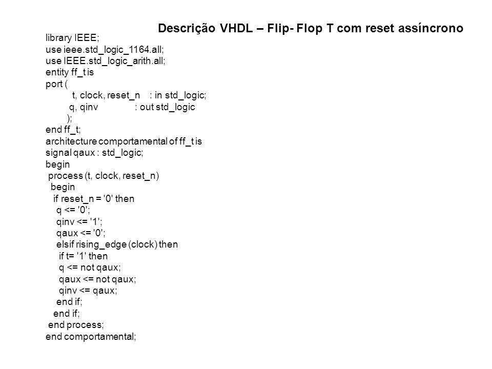 library IEEE; use ieee.std_logic_1164.all; use IEEE.std_logic_arith.all; entity ff_t is port ( t, clock, reset_n : in std_logic; q, qinv : out std_log