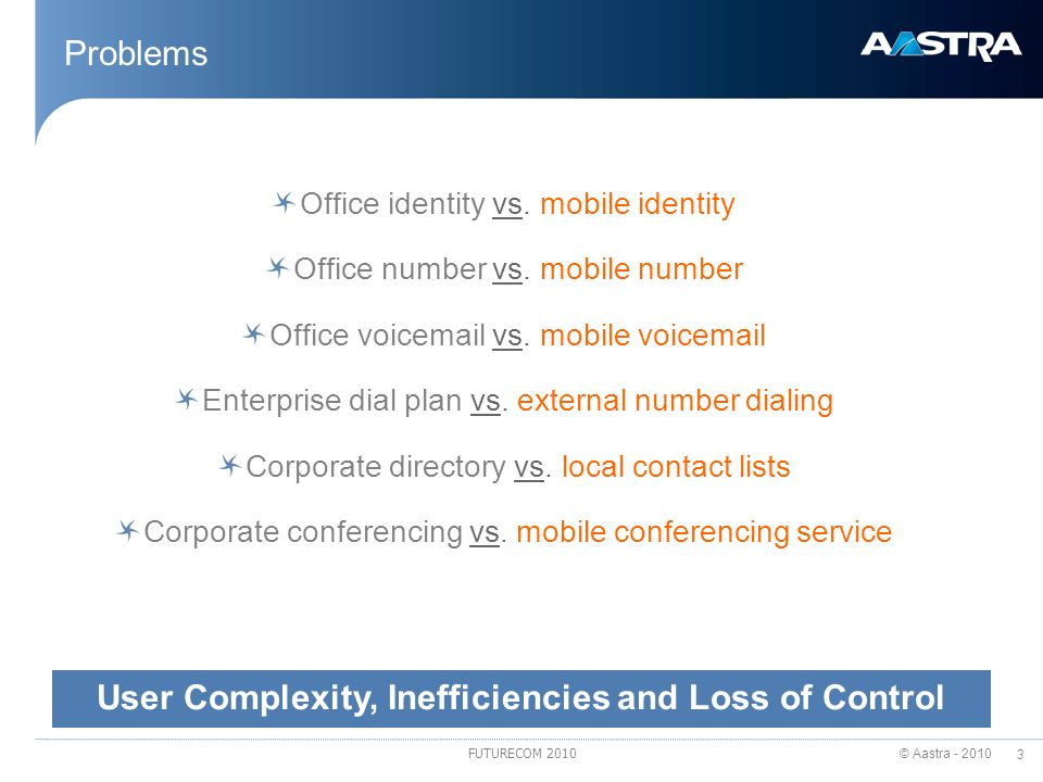 © Aastra - 2010 3 FUTURECOM 2010 Problems Office identity vs. mobile identity Office number vs. mobile number Office voicemail vs. mobile voicemail En