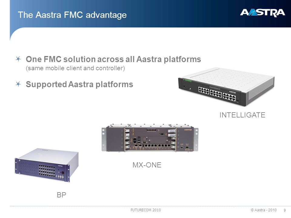 © Aastra - 2010 9 FUTURECOM 2010 The Aastra FMC advantage One FMC solution across all Aastra platforms (same mobile client and controller) Supported A