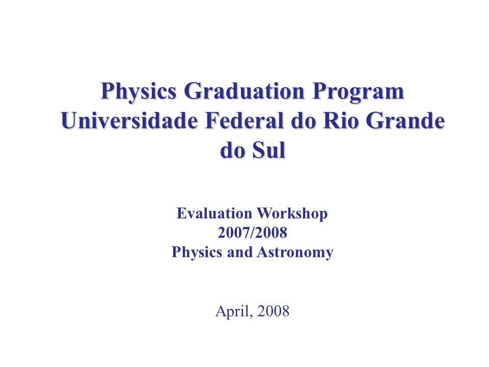 Physics Graduation Program Universidade Federal do Rio Grande do Sul Evaluation Workshop 2007/2008 Physics and Astronomy April, 2008