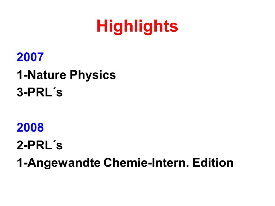 Highlights Nature Physics 3-PRL´s PRL´s 1-Angewandte Chemie-Intern. Edition