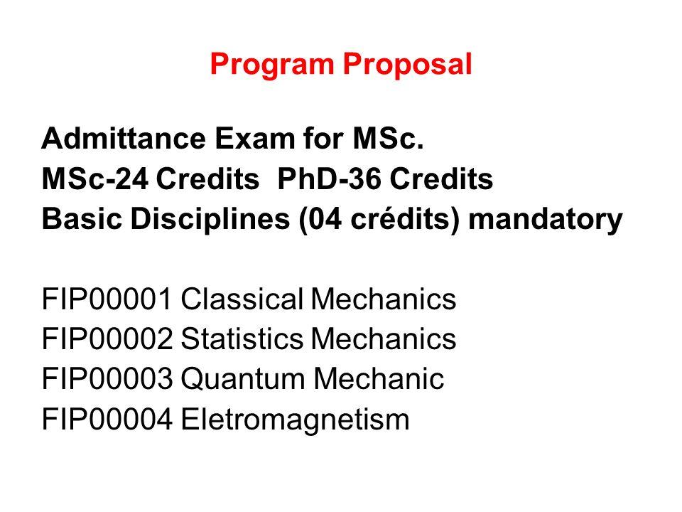 Program Proposal Admittance Exam for MSc.