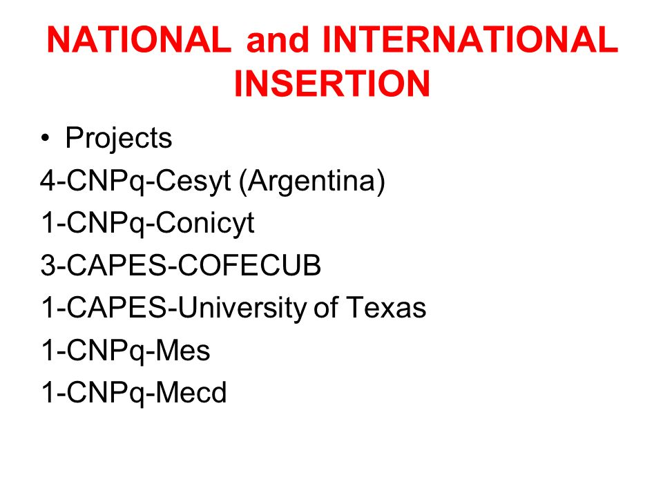NATIONAL and INTERNATIONAL INSERTION Projects 4-CNPq-Cesyt (Argentina) 1-CNPq-Conicyt 3-CAPES-COFECUB 1-CAPES-University of Texas 1-CNPq-Mes 1-CNPq-Mecd