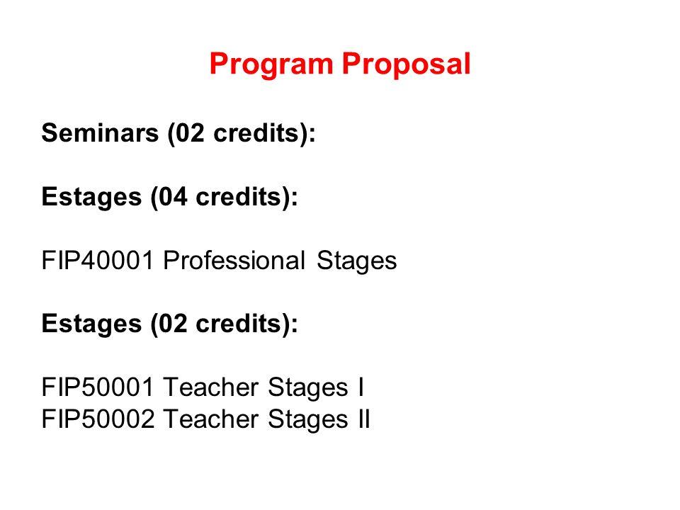 Program Proposal Seminars (02 credits): Estages (04 credits): FIP40001 Professional Stages Estages (02 credits): FIP50001 Teacher Stages I FIP50002 Teacher Stages II