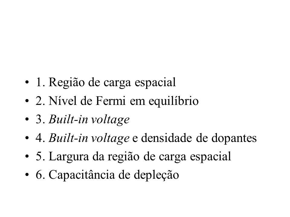 1. Região de carga espacial 2. Nível de Fermi em equilíbrio 3. Built-in voltage 4. Built-in voltage e densidade de dopantes 5. Largura da região de ca