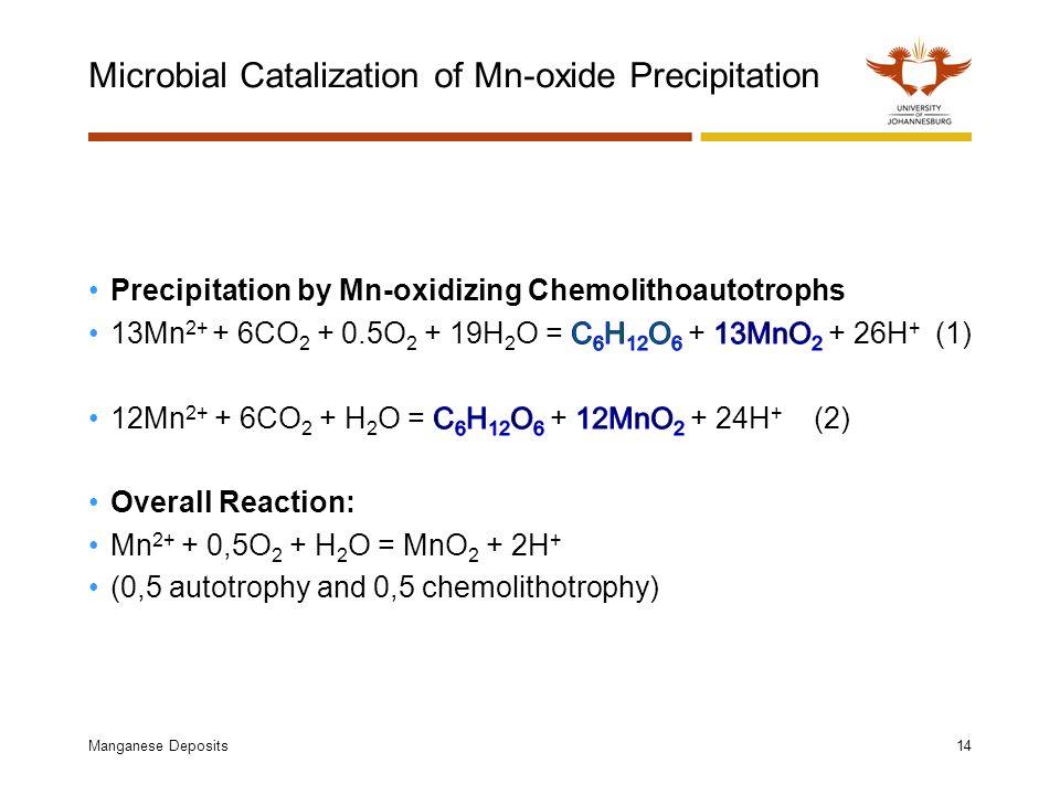 Microbial Catalization of Mn-oxide Precipitation Manganese Deposits14