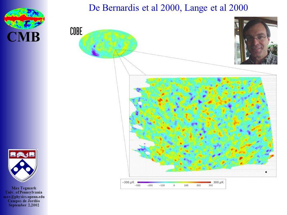 Max Tegmark Univ. of Pennsylvania max@physics.upenn.edu Campos de Jordão September 2,2002 Boom zoom CMB De Bernardis et al 2000, Lange et al 2000 BOOM