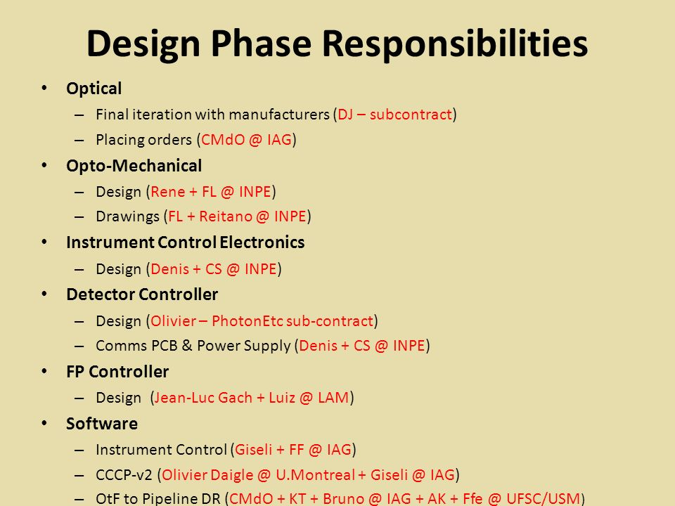 Design Phase Responsibilities Optical – Final iteration with manufacturers (DJ – subcontract) – Placing orders (CMdO @ IAG) Opto-Mechanical – Design (