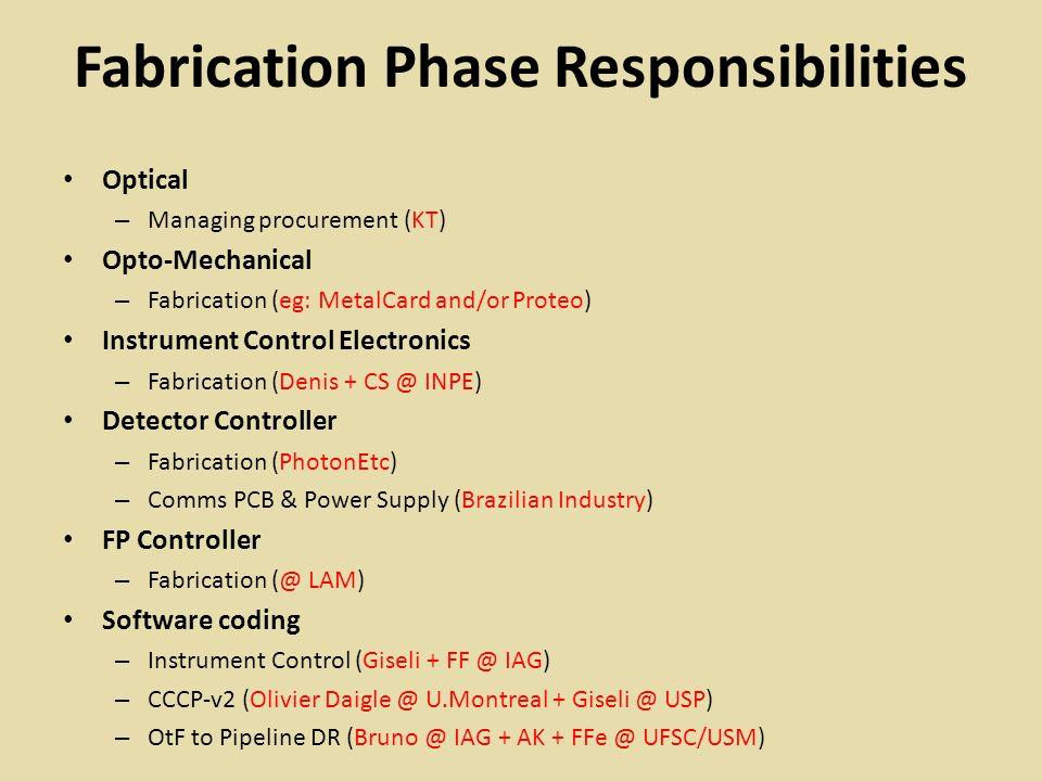 AI&T Phase Responsibilities Optical – Evaluation & acceptance testing + I&T (KT + Rene + ACdO @ LNA?) Opto-Mechanical – Acceptance (Rene + Reitano - INPE) – I&T (Rene + Reitano + ACdO @ INPE or LNA) Instrument Control Electronics – Test (Denis + CS) Detector Controller – Debug and evaluate (Dani – sub-contract to AI) – Test (Javier @ USP + Dani) FP Controller – Debug, evaluate and test (Luiz @ IAG) Software test & debug – Instrument Control (Giseli + FF @ IAG) – CCCP-v2 (Giseli @ IAG) – OtF to Pipeline DR (Bruno + CMdO + KT @ IAG + AK + FFe @ UFSC/USM)