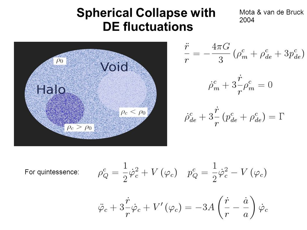 Spherical Collapse with DE fluctuations Mota & van de Bruck 2004 For quintessence: