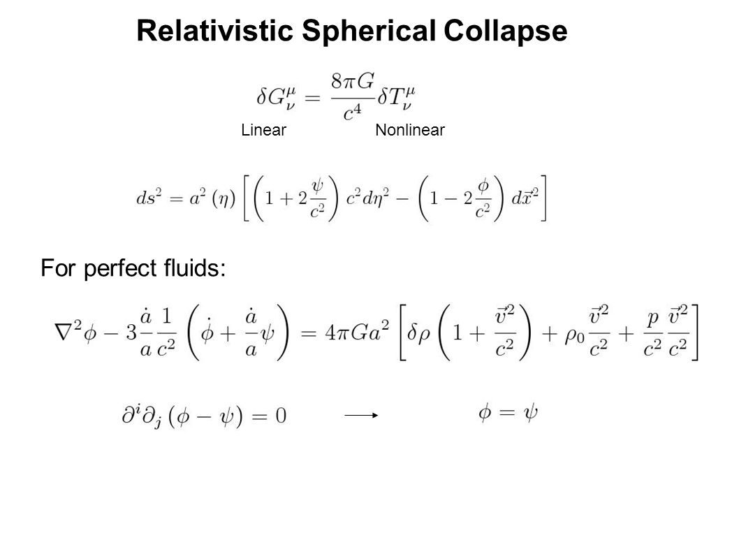 Relativistic Spherical Collapse For perfect fluids: LinearNonlinear