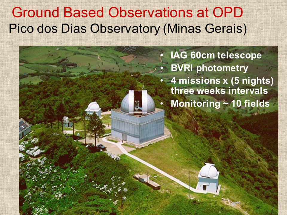 Ground Based Observations at OPD Pico dos Dias Observatory (Minas Gerais) IAG 60cm telescope BVRI photometry 4 missions x (5 nights) three weeks inter