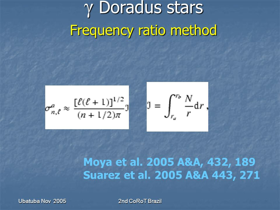 Ubatuba Nov 20052nd CoRoT Brazil Moya et al. 2005 A&A, 432, 189 Suarez et al.