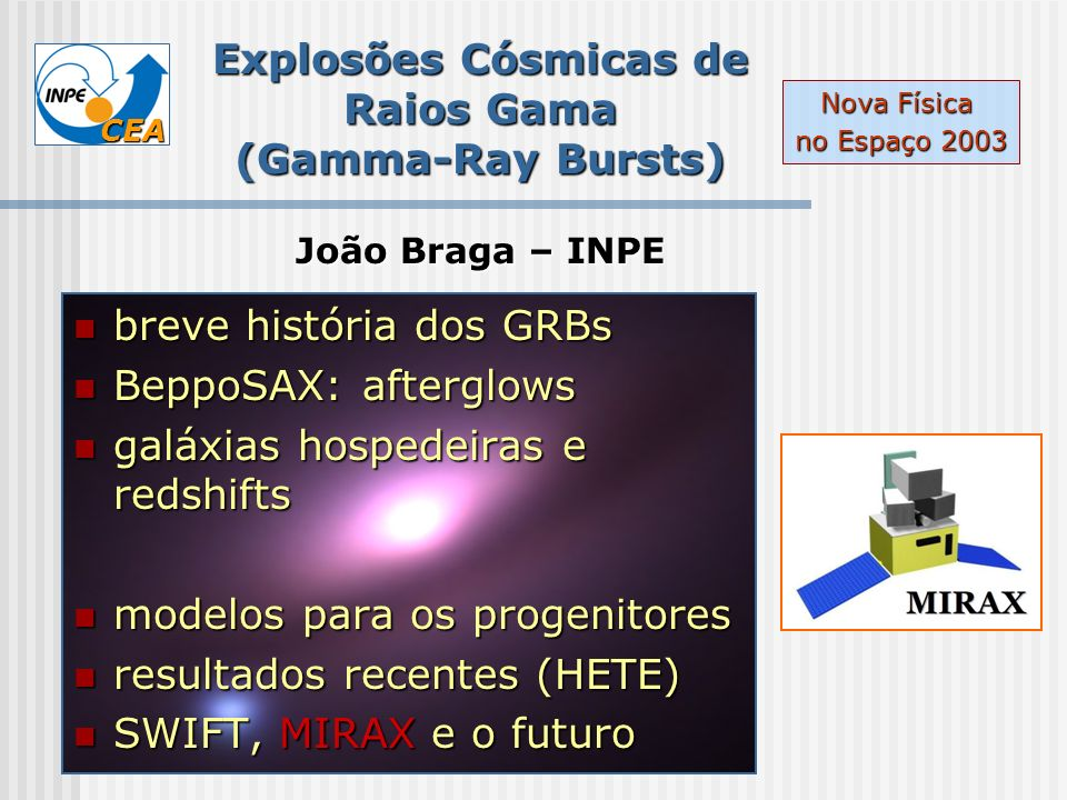 CEA Types of Bursts Burst Class Percentage of all bursts Typical duration (sec) Initial gamma- ray emission Afterglow X-ray emission Afterglow optical emission Long (normal) 25%20 Long (dark) 30%20 no Long (X-ray rich or XRF) 25%30 Absent or weak no short 20%0.3 ??