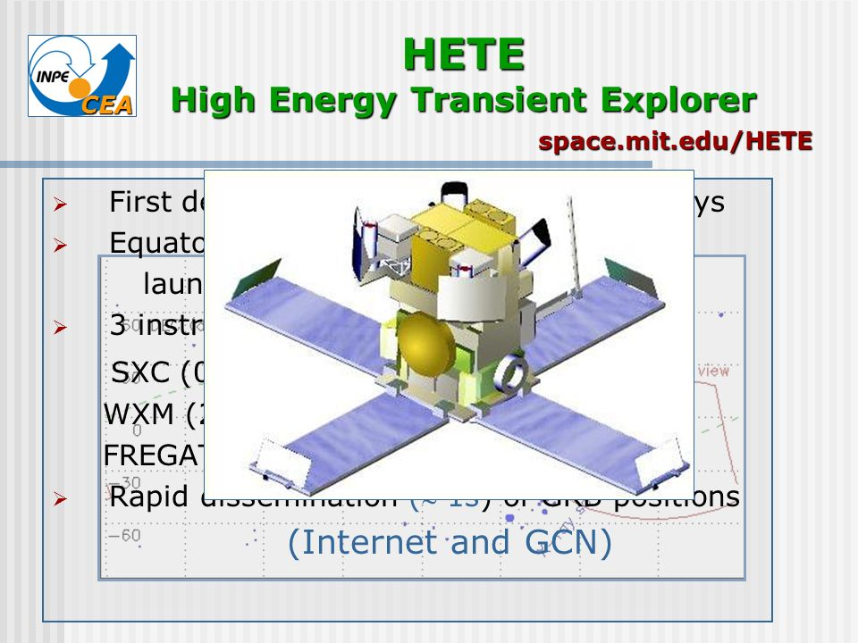 CEA HETE High Energy Transient Explorer First dedicated GRB mission, X- and -rays Equatorial orbit, antisolar pointing launched on Oct 9 th, 2000 - Pe