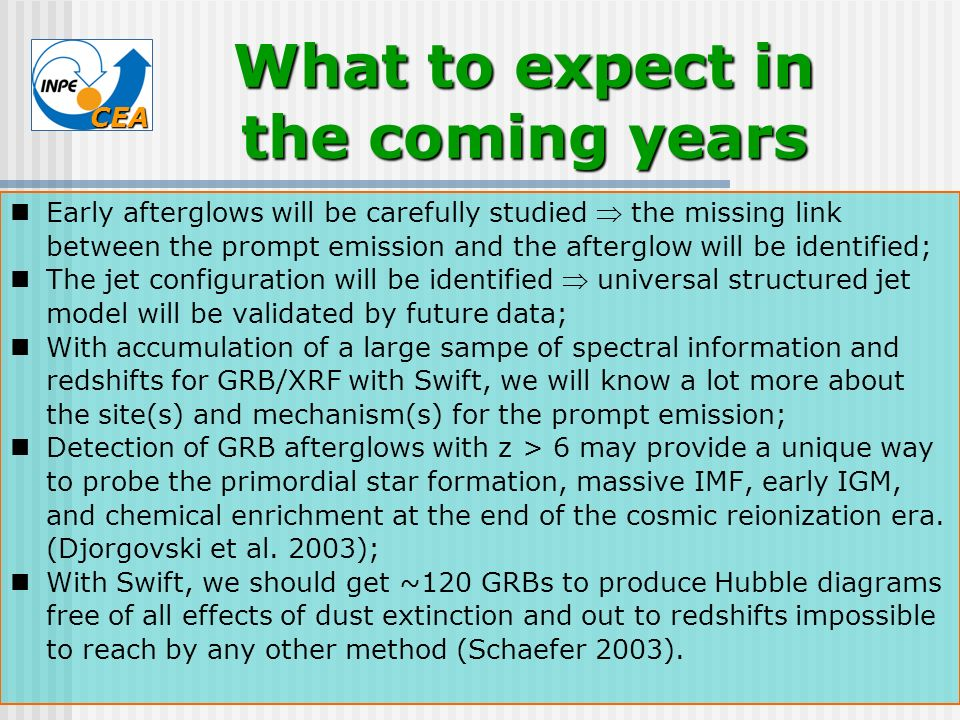 CEA Early afterglows will be carefully studied the missing link between the prompt emission and the afterglow will be identified; The jet configuratio