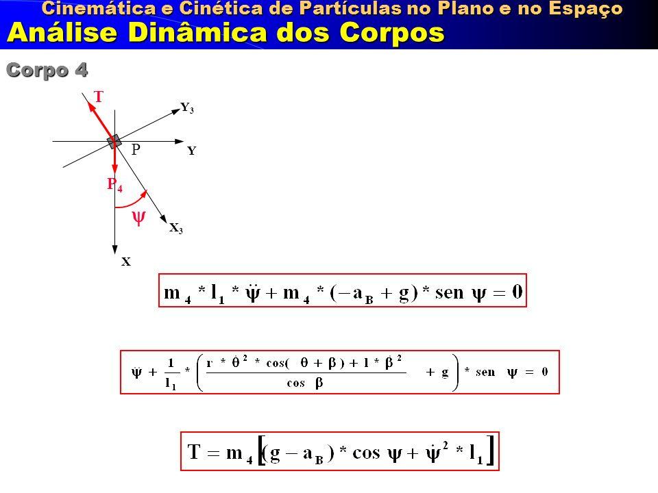 X3X3 Y3Y3 Cinemática e Cinética de Partículas no Plano e no Espaço Análise Dinâmica dos Corpos X Y Corpo 4 P 4 T P