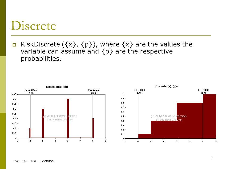 IAG PUC – Rio Brandão 5 Discrete RiskDiscrete ({x}, {p}), where {x} are the values the variable can assume and {p} are the respective probabilities.