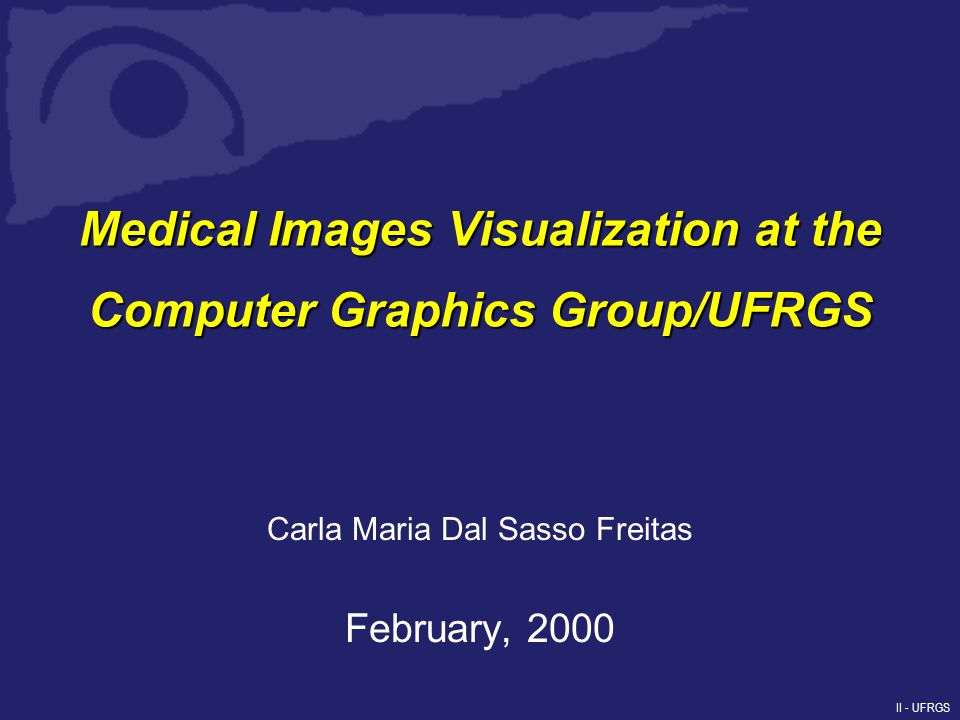 II - UFRGS Medical Images Visualization at the Computer Graphics Group/UFRGS Carla Maria Dal Sasso Freitas February, 2000