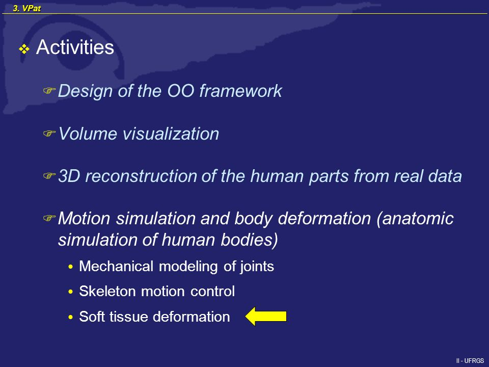 II - UFRGS Activities F Design of the OO framework F Volume visualization F 3D reconstruction of the human parts from real data F Motion simulation and body deformation (anatomic simulation of human bodies) Mechanical modeling of joints Skeleton motion control Soft tissue deformation 3.