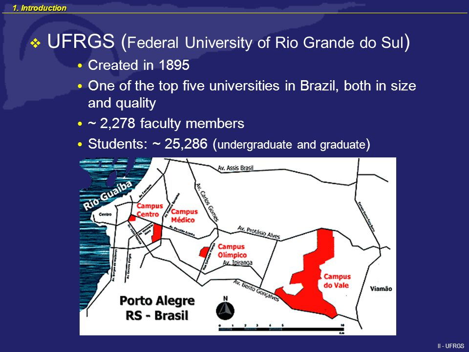 II - UFRGS UFRGS ( Federal University of Rio Grande do Sul ) Created in 1895 One of the top five universities in Brazil, both in size and quality ~ 2,278 faculty members Students: ~ 25,286 ( undergraduate and graduate ) 1.