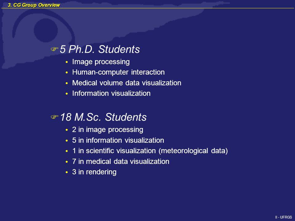 II - UFRGS F 5 Ph.D. Students Image processing Human-computer interaction Medical volume data visualization Information visualization F 18 M.Sc. Stude