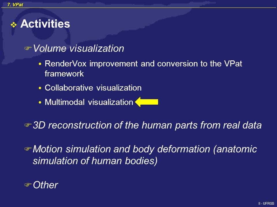 II - UFRGS 7. VPat Activities F Volume visualization RenderVox improvement and conversion to the VPat framework Collaborative visualization Multimodal