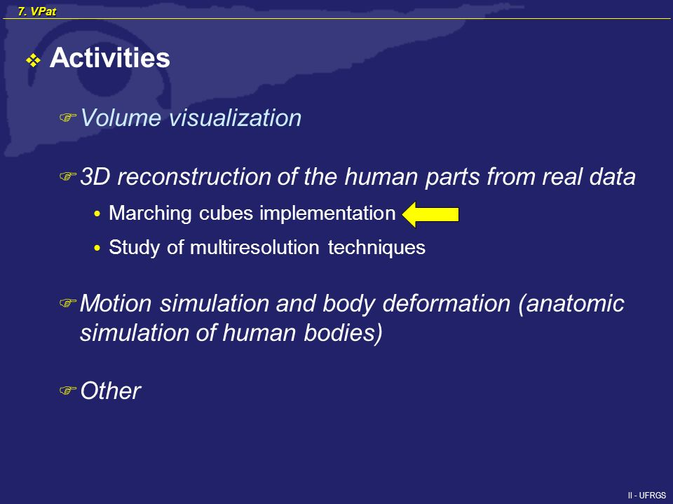 II - UFRGS 7. VPat Activities F Volume visualization F 3D reconstruction of the human parts from real data Marching cubes implementation Study of mult