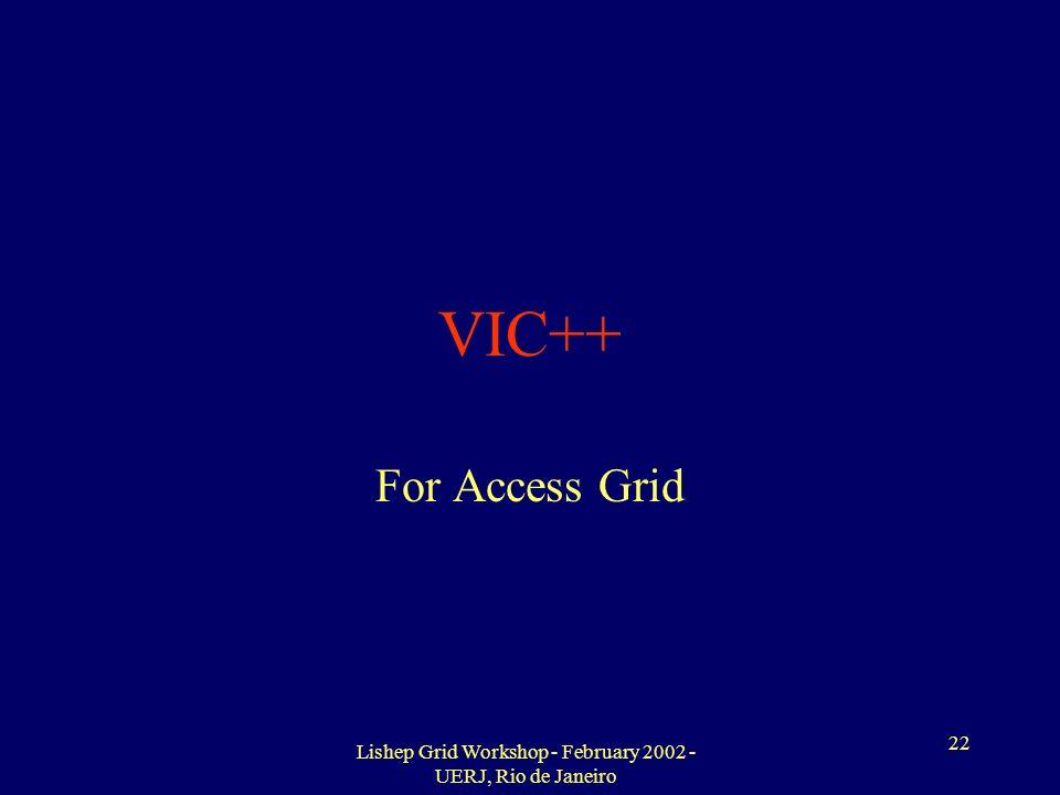 Lishep Grid Workshop - February 2002 - UERJ, Rio de Janeiro 22 VIC++ For Access Grid