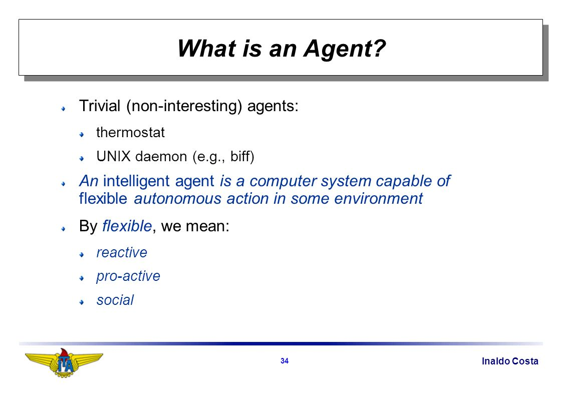 Inaldo Costa 34 What is an Agent.