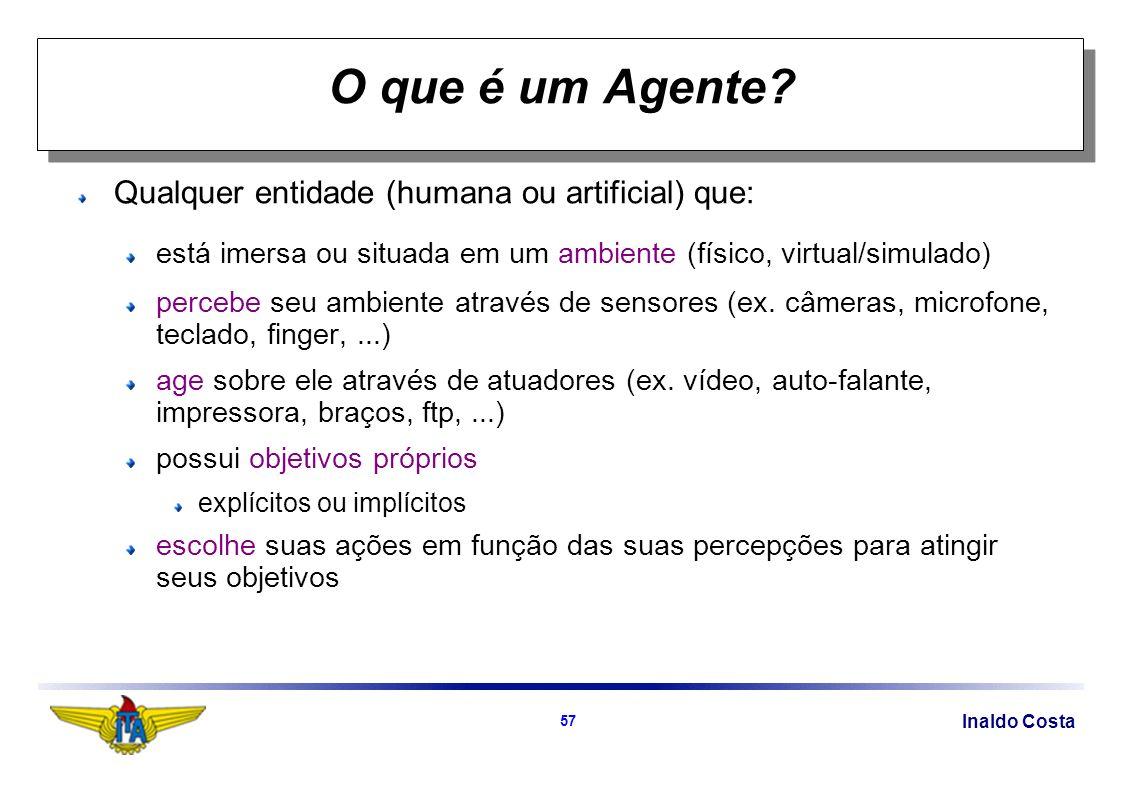 Inaldo Costa 57 O que é um Agente? Qualquer entidade (humana ou artificial) que: está imersa ou situada em um ambiente (físico, virtual/simulado) perc