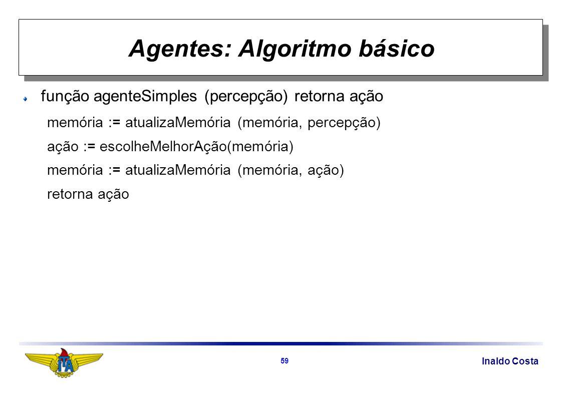 Inaldo Costa 59 Agentes: Algoritmo básico função agenteSimples (percepção) retorna ação memória := atualizaMemória (memória, percepção) ação := escolheMelhorAção(memória) memória := atualizaMemória (memória, ação) retorna ação