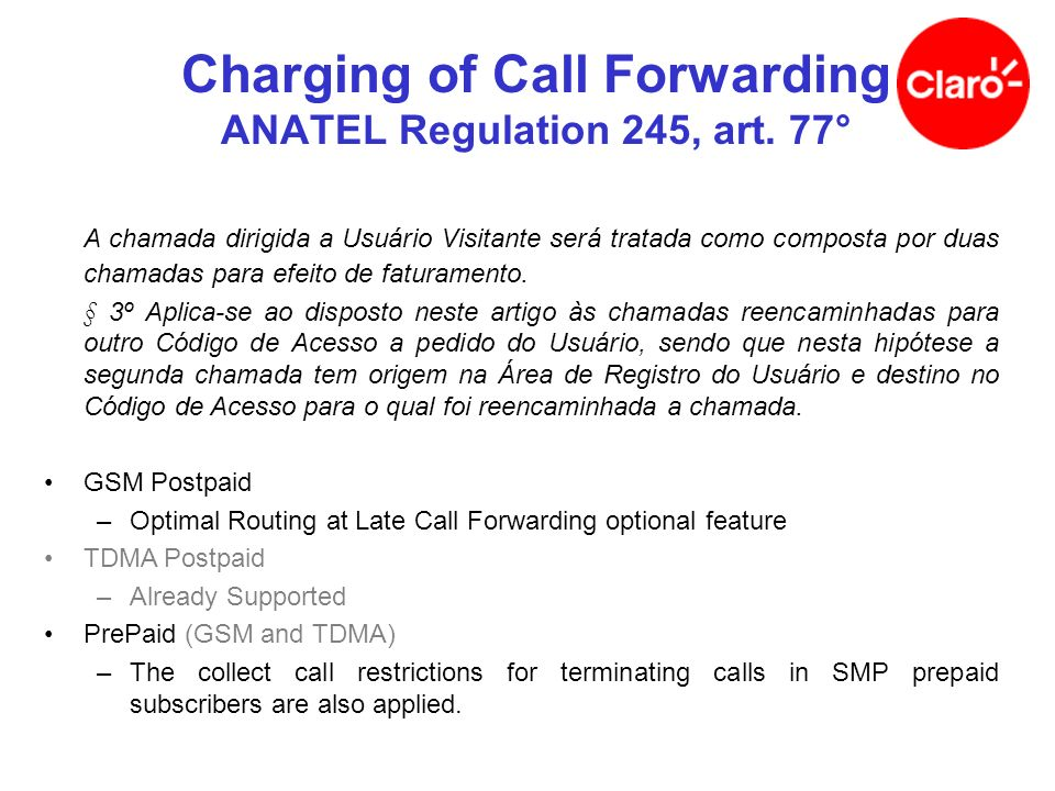 GMSC MSC/VLR Long distance carrier HLR Coverage Area Campinas (019)Rio do Janeiro (021) Sub X 019 9165 4321 Registered: RJ CFU: 019 3233 3333 VMS 019 9165 4321 POTS Office: 019 3233 3333 Signaling Traffic Call Forwarding, National Roaming - 1 of 3 Terminated call reaches the GMSC, CFU active (i) SRI (ii) SRI, resp (CFU)