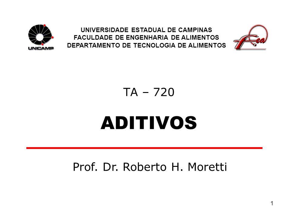 1 TA – 720 ADITIVOS UNIVERSIDADE ESTADUAL DE CAMPINAS FACULDADE DE ENGENHARIA DE ALIMENTOS DEPARTAMENTO DE TECNOLOGIA DE ALIMENTOS Prof.