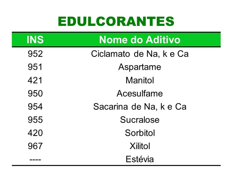 11 EDULCORANTES INSNome do Aditivo 952Ciclamato de Na, k e Ca 951Aspartame 421Manitol 950Acesulfame 954Sacarina de Na, k e Ca 955Sucralose 420Sorbitol 967Xilitol ----Estévia