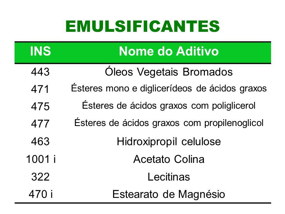 12 EMULSIFICANTES INSNome do Aditivo 443Óleos Vegetais Bromados 471 Ésteres mono e diglicerídeos de ácidos graxos 475 Ésteres de ácidos graxos com poliglicerol 477 Ésteres de ácidos graxos com propilenoglicol 463Hidroxipropil celulose 1001 iAcetato Colina 322Lecitinas 470 iEstearato de Magnésio