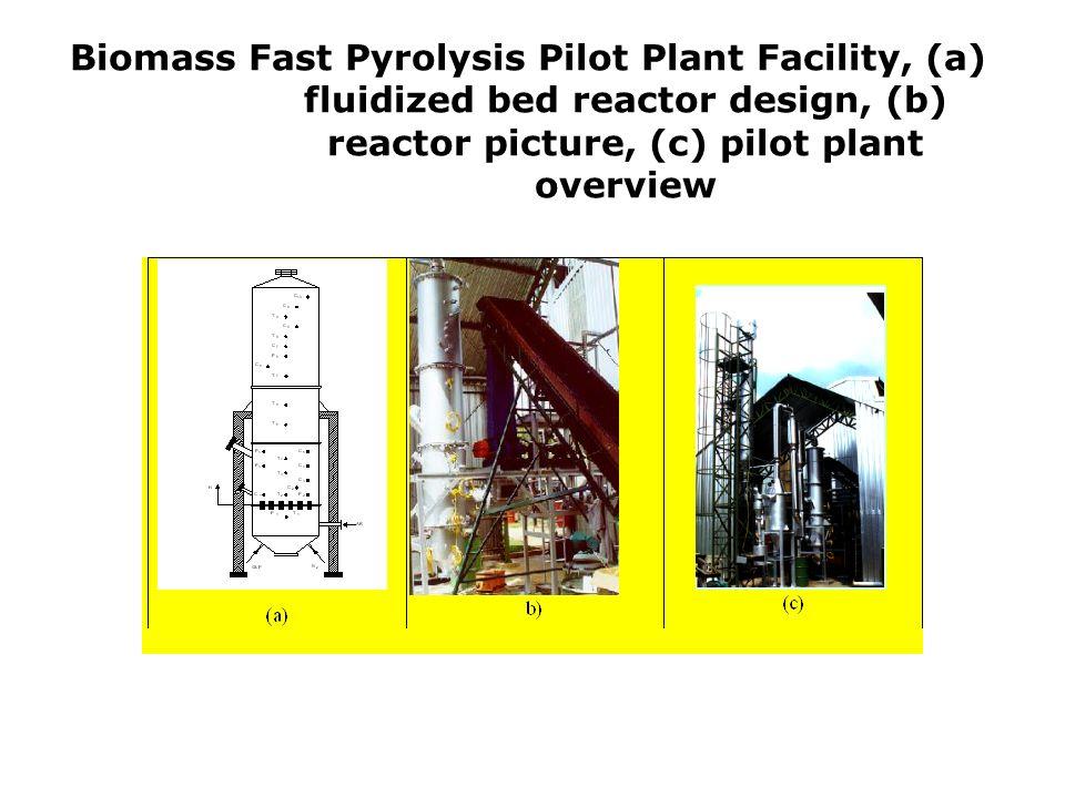 Biomass Fast Pyrolysis Pilot Plant Facility, (a) fluidized bed reactor design, (b) reactor picture, (c) pilot plant overview