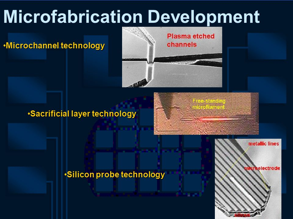 Microfabrication Development Microchannel technologyMicrochannel technology Sacrificial layer technologySacrificial layer technology Silicon probe tec