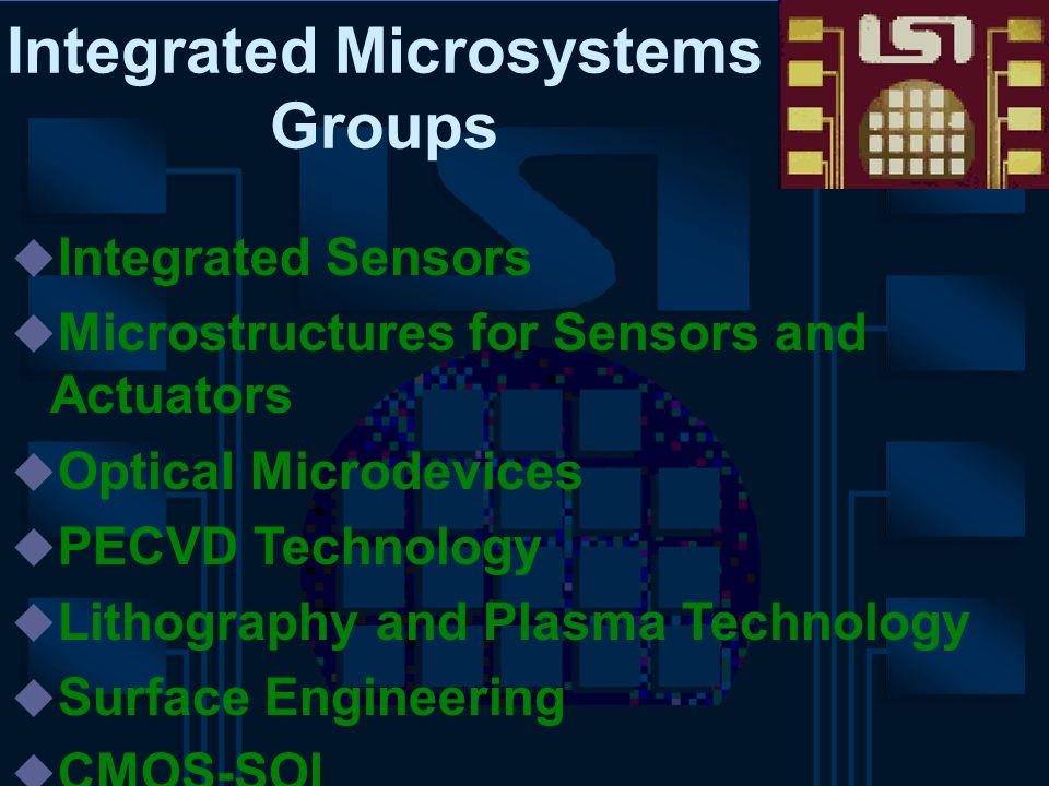 Integrated Microsystems Groups Integrated Sensors Microstructures for Sensors and Actuators Optical Microdevices PECVD Technology Lithography and Plas