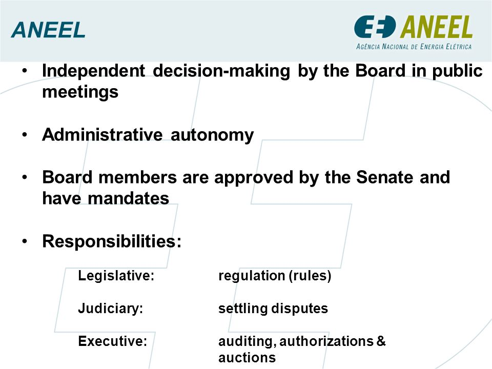 Independent decision-making by the Board in public meetings Administrative autonomy Board members are approved by the Senate and have mandates Respons