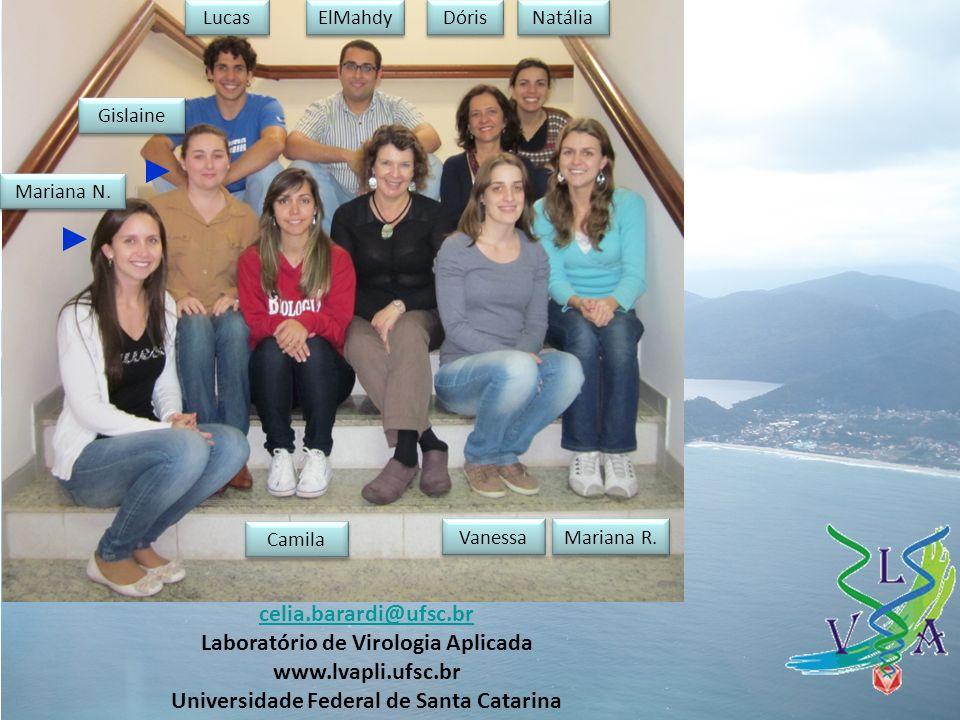 celia.barardi@ufsc.br Laboratório de Virologia Aplicada www.lvapli.ufsc.br Universidade Federal de Santa Catarina Gislaine Mariana N.
