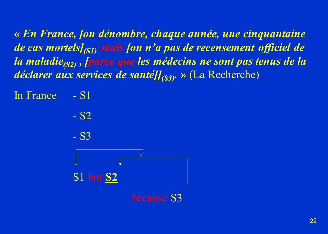 22 « En France, [on dénombre, chaque année, une cinquantaine de cas mortels] (S1) mais [on na pas de recensement officiel de la maladie (S2), [parce que les médecins ne sont pas tenus de la déclarer aux services de santé]] (S3).
