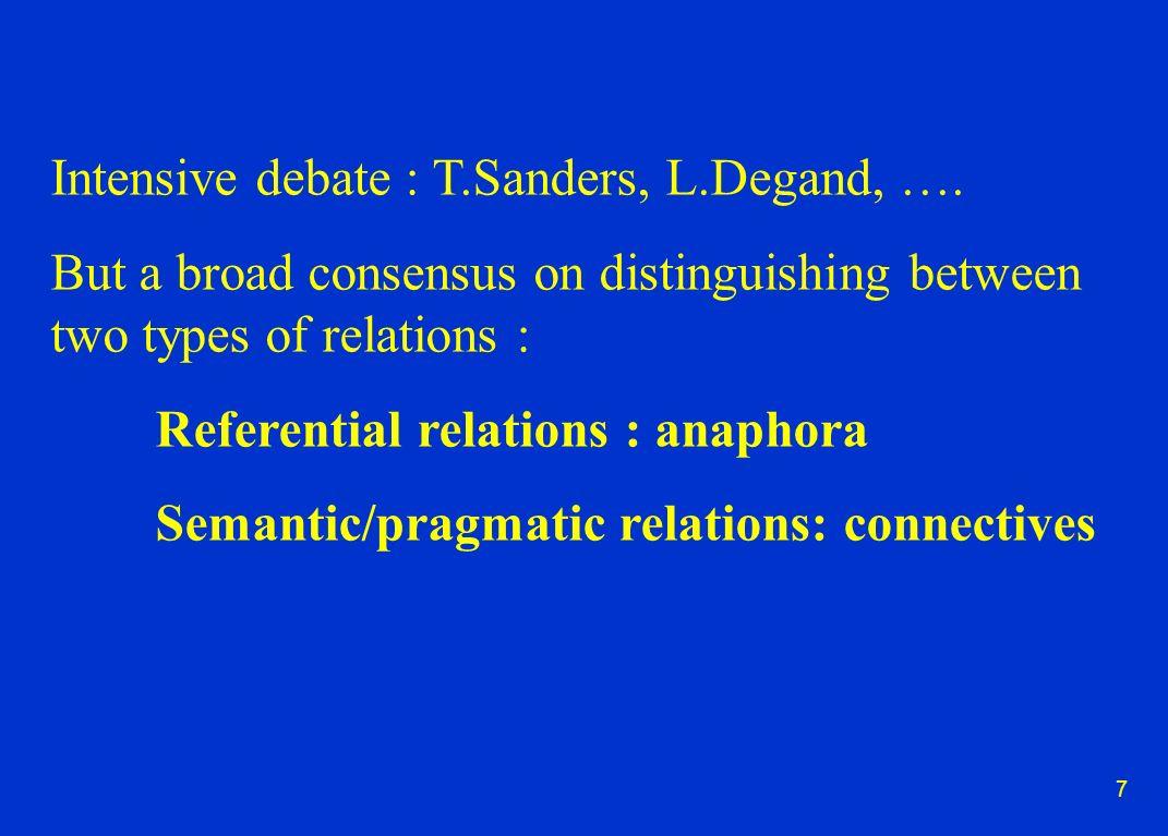 7 Intensive debate : T.Sanders, L.Degand, ….