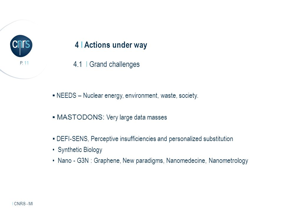 Intervenant l mentions légales. P. 11 l CNRS - MI 4 I Actions under way NEEDS – Nuclear energy, environment, waste, society. MASTODONS: Very large dat