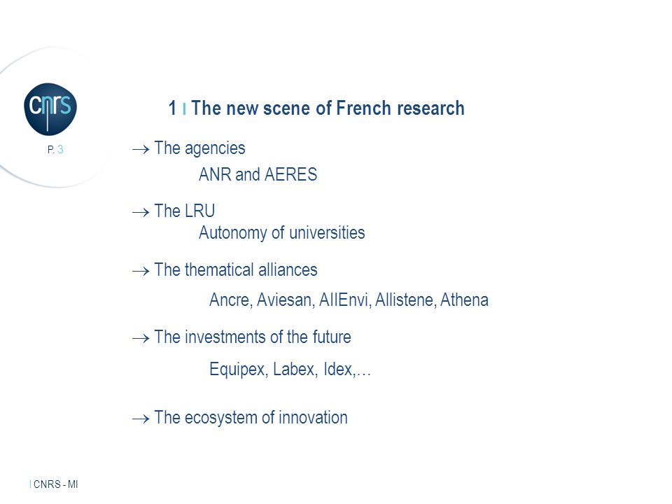 Intervenant l mentions légales. P. 3 l CNRS - MI 1 I The new scene of French research The agencies ANR and AERES The thematical alliances Equipex, Lab