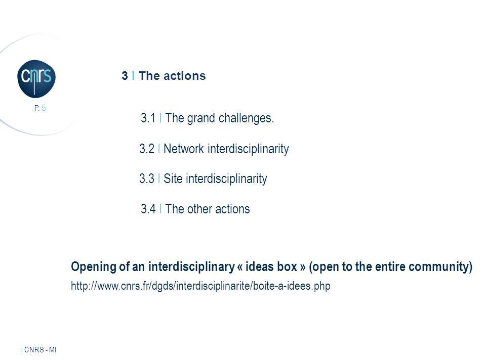 Intervenant l mentions légales. P. 5 l CNRS - MI 3 I The actions 3.1 I The grand challenges.